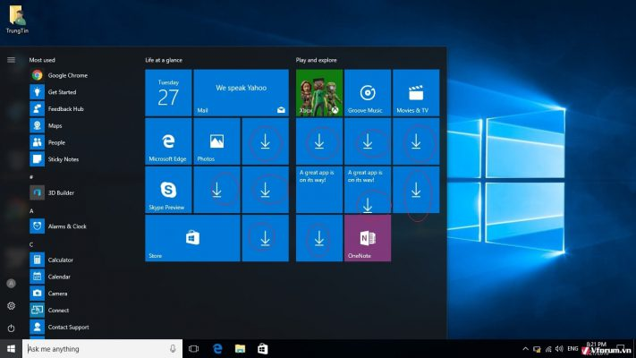 Start Menu trên Windows 10