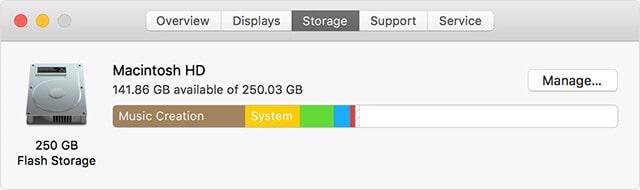 Dung lượng ổ cứng Macbook